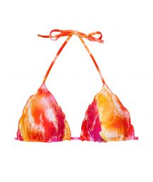 Red / orange tie dye triangle top with wavy edges - TOP TIEDYE-RED TRI