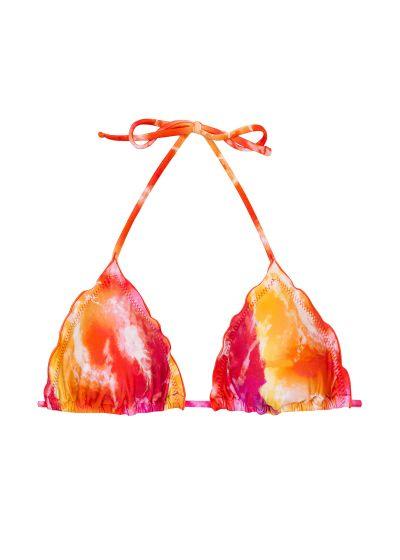 Haut triangle tie dye rouge/orange bords ondulés - TOP TIEDYE-RED TRI