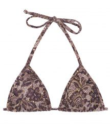 Purple lace print triangle top - TOP TRI MICRO FLOWER PURPLE