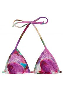Sliding triangle top in pink and purple flowers - TOP TRI MICRO MAXI FLOWER PURPLE