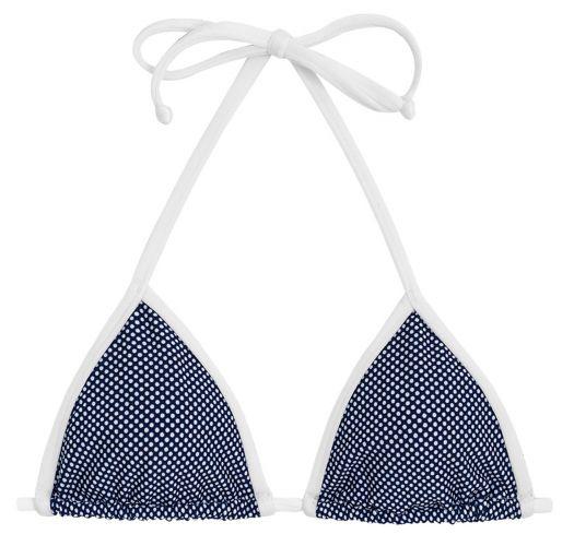 Navy triangle top in white polka dot print - TOP TRI MICRO POA WHITE