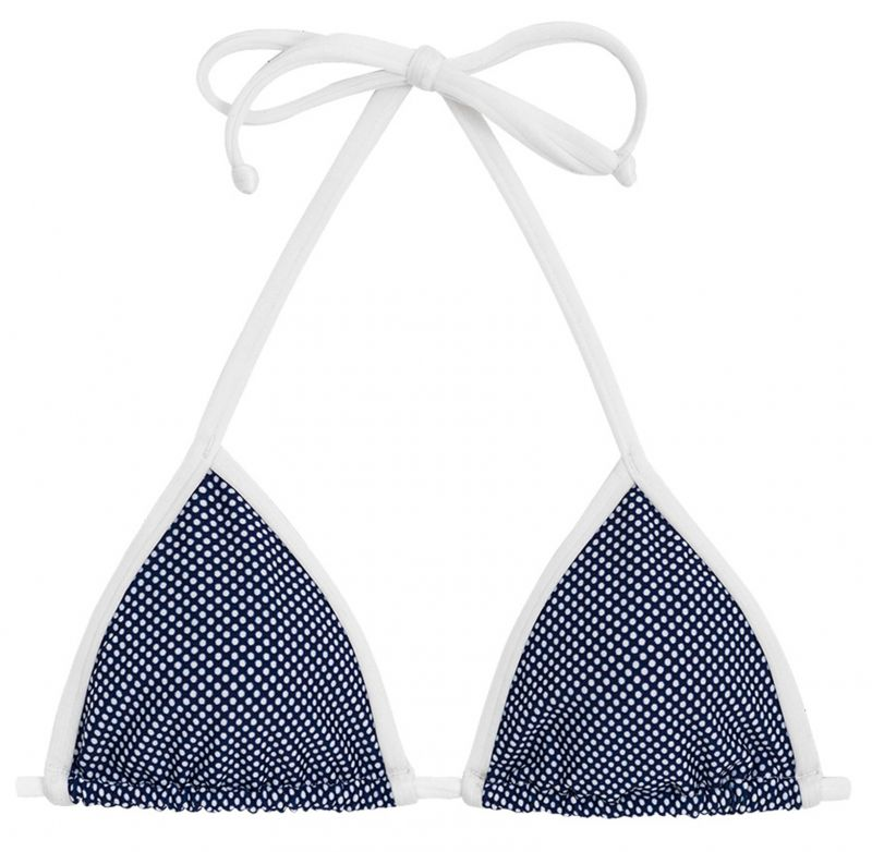 Navy triangle top in white polka dot print - TOP TRI MICRO POA WHITE