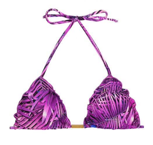 Lilla blad mønstrete trekant bikini topp - TOP ULTRA VIOLET FRUFRU