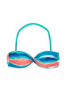 Blue and coral bandeau top with removable strap - TOP UPBEAT BANDEAU