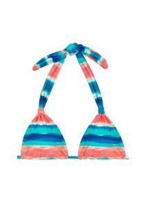 Blue / coral sliding triangle halter top - TOP UPBEAT CORTINAO
