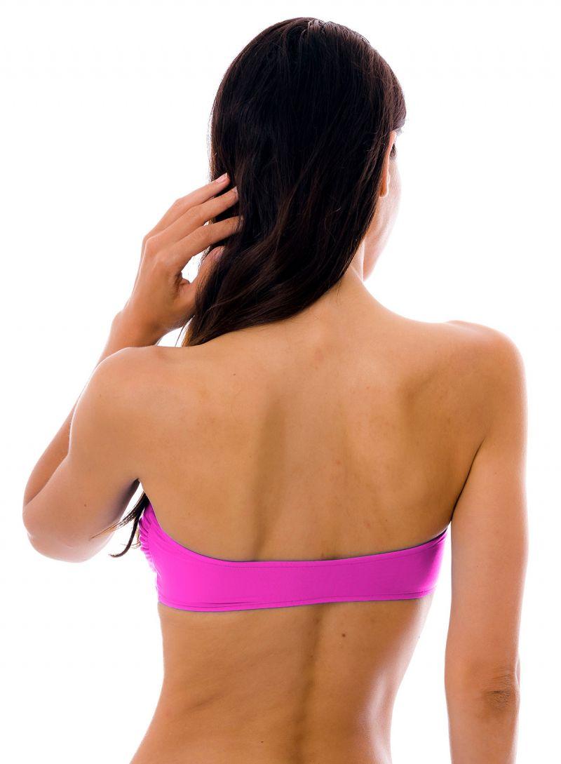 Magenta pink bandeau pull-on bikini top - TOP UV-PINK BANDEAU-RETO