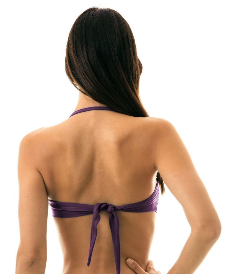 Iridescent purple bandeau top with removable stripes - TOP VIENA BANDEAU