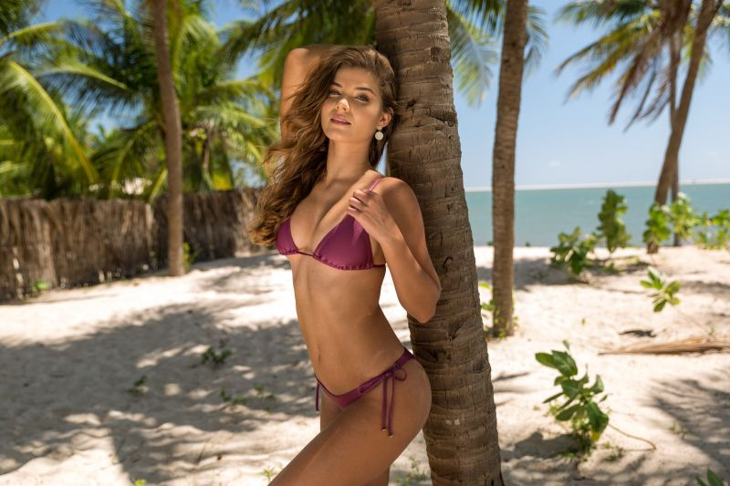 Iridescent purple triangle top with brown straps - TOP VIENA INVISIBLE