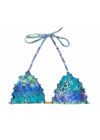 Triangle top wavy edges blue peacock print - TOP VIOLINA FRUFRU FIO