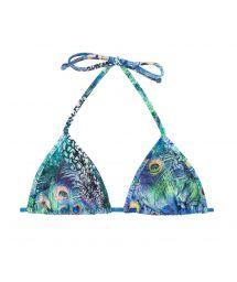 Blå trekants-bikini övredel med påfågelstryck - TOP VIOLINA MICRO