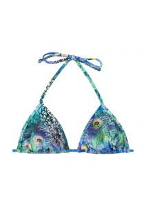 Bikini triangular azul con estampado de pavo real - TOP VIOLINA MICRO