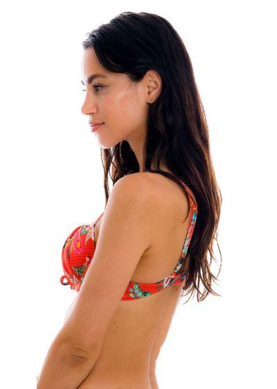 Red floral push-up balconette bikini top - TOP WILDFLOWERS BALCONET-PUSHUP
