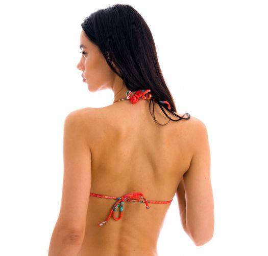 Red floral triangle bikini top - TOP WILDFLOWERS TRI-ROL