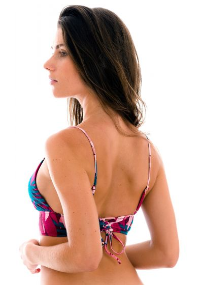 Pink & blue printed bralette top with laced back - TOP YUCCA TRI-TANK