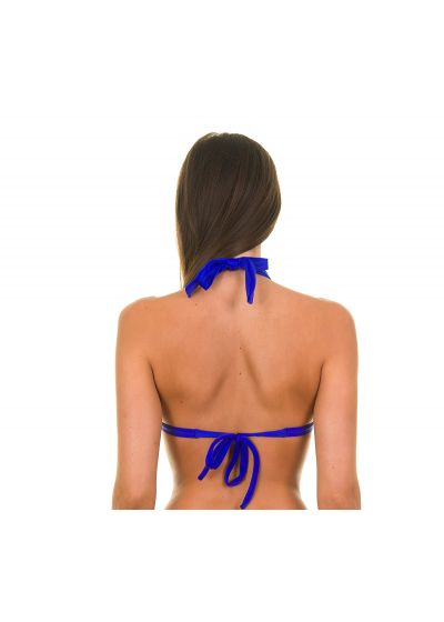 A triangle bikini top with dark blue shells - ZAFFIRO TRI FIXO