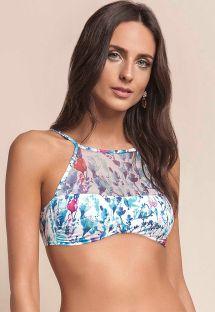 Blomstret bikini crop top i to forskellige materialer - SOUTIEN BREATH