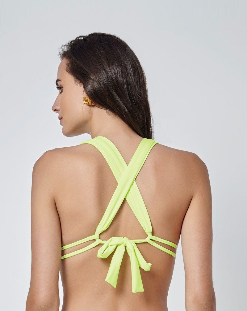 Lime green halterneck triangle bikini top with cross-over back - SOUTIEN LIMAO LENCO