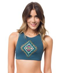 Crop top bikini with ethnic embroidery and racer back - SOUTIEN MACONDO VERDE