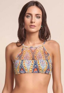 Transparent two-material printed crop top - SOUTIEN ROOTS