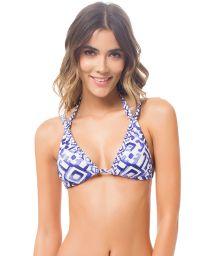 Blue printed double-strap triangle bikini top - TOP AMAZONA TRIBAL