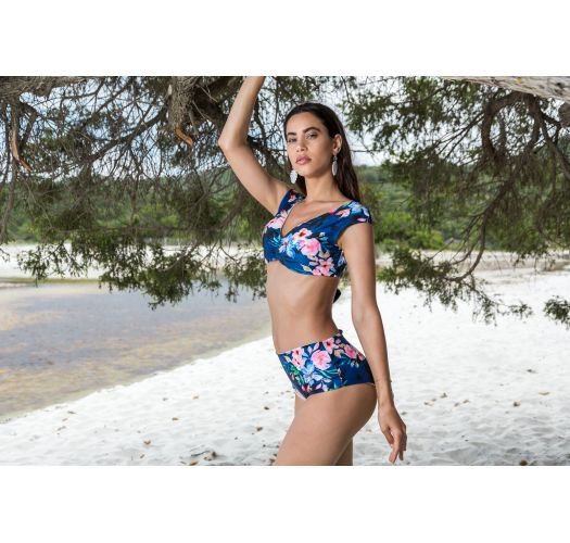 BBS X SAHA - reversible bikini top flowers / stripes - TOP AURORA FLORAL NIGHT