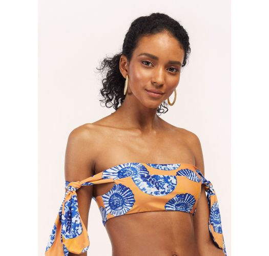 Yellow bandeau bikini in blue shells - TOP COCORA EPOQUE