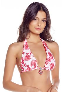 Reversible halter top  - fish pattern / red - TOP COROZO MAREA