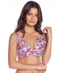 Reversible bra bikini top flowers / stripes - TOP FLORA SPROUT / ARTISAN STRIPES