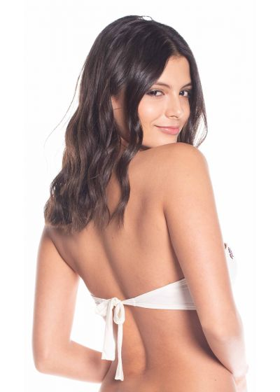 Beige padded bandeau top with embroidery - TOP FREYA