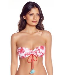 Wende-Bandeau-Top in Rot/Fischmotiv - TOP GERANIUM RED