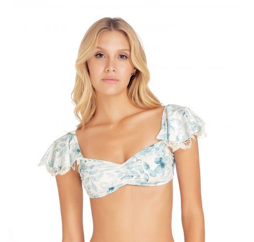 Floral bandeau bikini top with flounces - TOP SAMBA BLOSSOM