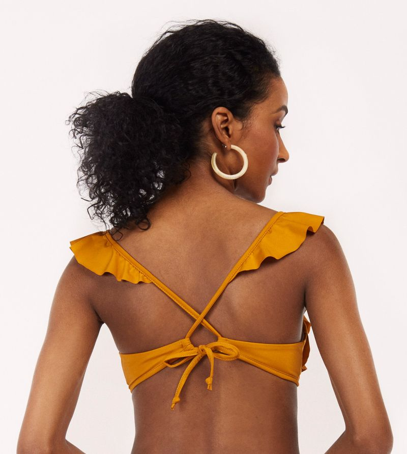 Mustard ruffled triangle top - TOP SAMBA RIO MELLOW YELLOW