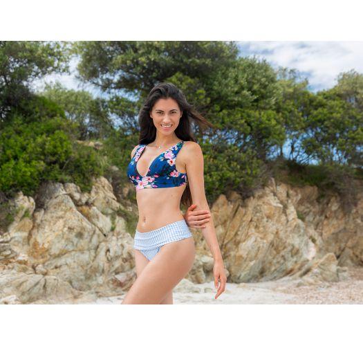 BBS X SAHA - floral bra bikini top with large stripes - TOP SIERRA FLORAL NIGHT