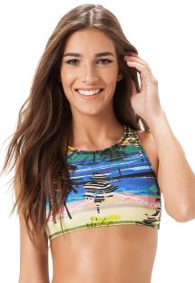 Crop bikini top med racerback og tropisk mønster - SOUTIEN ALTO ALEGRE