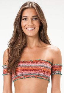 Smocked striped off-the-shoulder bandeau top - SOUTIEN BALTIMORE