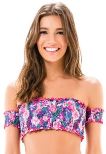 Mauve pink floral off-the-shoulder crop top - SOUTIEN CROPPED LASTEX KITTY