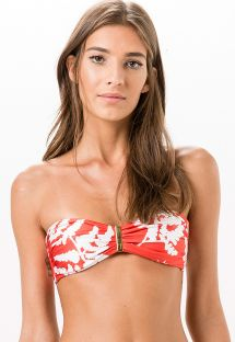 Two-coloured tropical bandeau top with gold detail - SOUTIEN ENCANTO