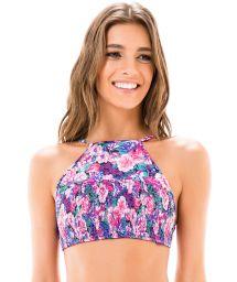 Mauve pink floral swimsuit crop top - SOUTIEN FRENTE UNICA LASTEX KITTY