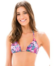 Mauve pink floral triangle top with wavy edges - SOUTIEN LACINHO FRUFRU KITTY