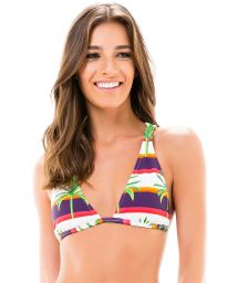 Racerback triangle top with stripes and palm trees - SOUTIEN NOVA MIRACLE RIVER