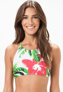 Floral crop top bikini top with cross-over back - SOUTIEN PARAISO