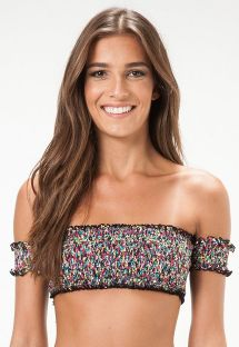 Multicoloured off-the-shoulder bandeau top with smocking - SOUTIEN PARATY MIRIN