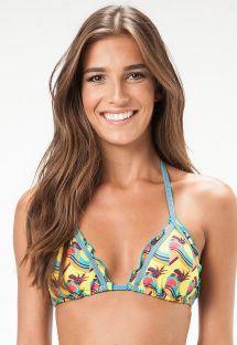 Dalgalı kenarlı tropikal oynak desenli üçgen bikini üstü - SOUTIEN PENSILVANIA