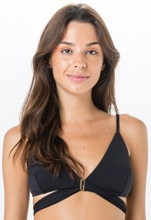 Black triangle bikini top with ties - TOP BAIXA LISO