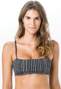 Black bra bikini top in white polka dots - TOP BANDEAU POLKA