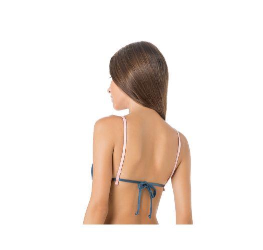 Blå trekant bikini-top med lyserøde kanter - TOP CORTININHA VIES ARGOLA AZUL