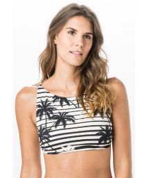 Black and white crop top in palm tree print - TOP CROP ROLLER