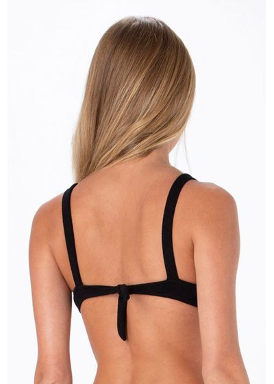 Black textured fabric bralette top with a knot - TOP MIRACLE BUCLET