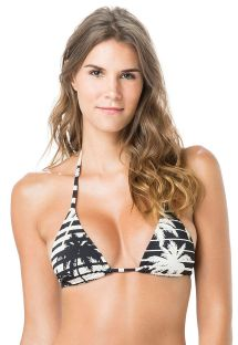 Bi-color triangle top in stripes and palm trees - TOP TRIANGULO ROLLER
