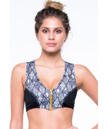Zipped surf swimsuit top in two materials - SOUTIEN YAS AFRICA